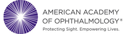 American Academy of Ophthalmology Logo - Dark gray sans-serif type with purple eye icon to left