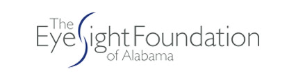 EyeSight Foundation of Alabama Logo - Dark gray sans-serif type with blue curves for letter S