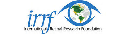 International Retinal Research Foundation Logo - Medium blue serif type with eye icon to right and black sans-serif tagline below