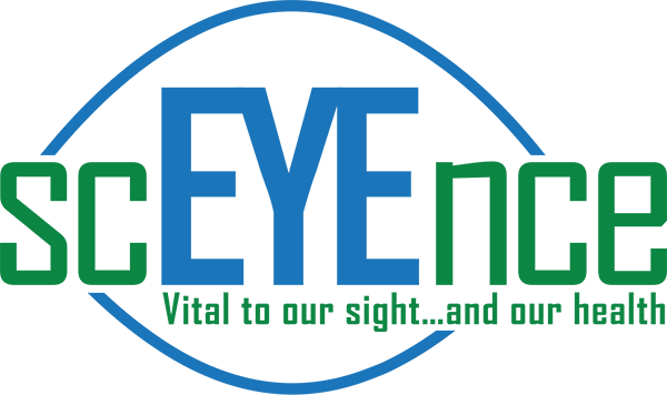 ScEYEnce Logo Retina - Green And Blue Sans-serif Type With Eye Icon In Background