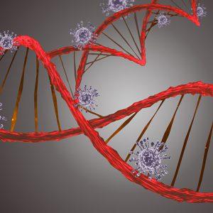 Red DNA strand with blue coronavirus