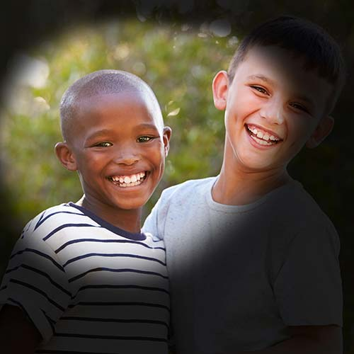 Kids With Black Around Edges Indicating Loss Of Peripheral Vision