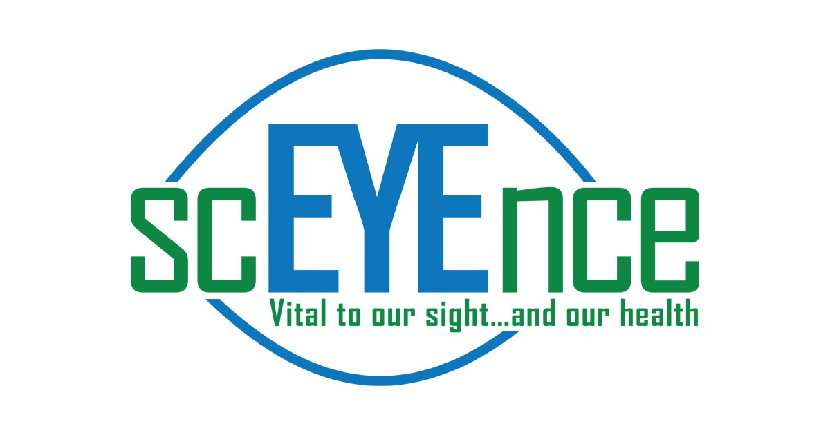 ScEYEnce Logo - Green And Blue Sans-serif Type With Eye Icon In Background